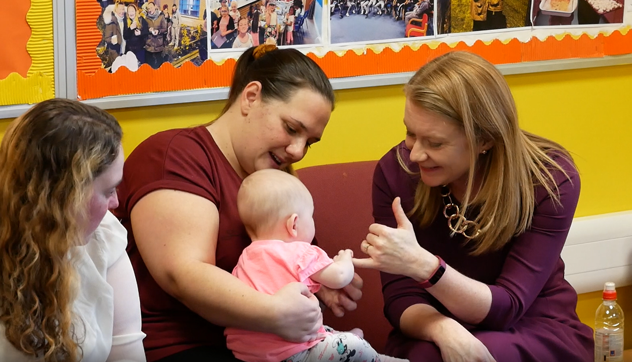Cabinet Secretary meeting a mother and young child at Goodtrees Neighbourhood Centre, Edinburgh