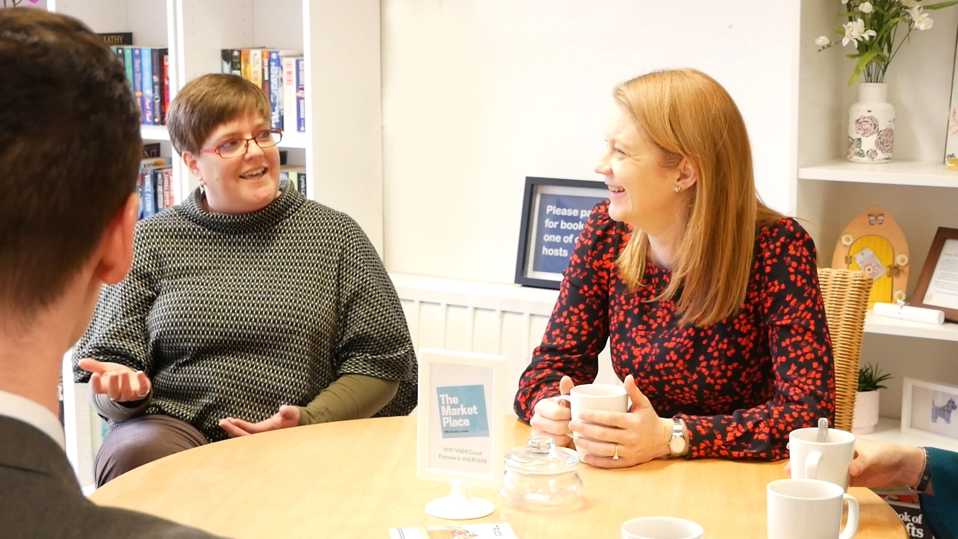 Cabinet Secretary with Ruth Gallagher, Chief Officer of Voluntary Action and local delivery team members