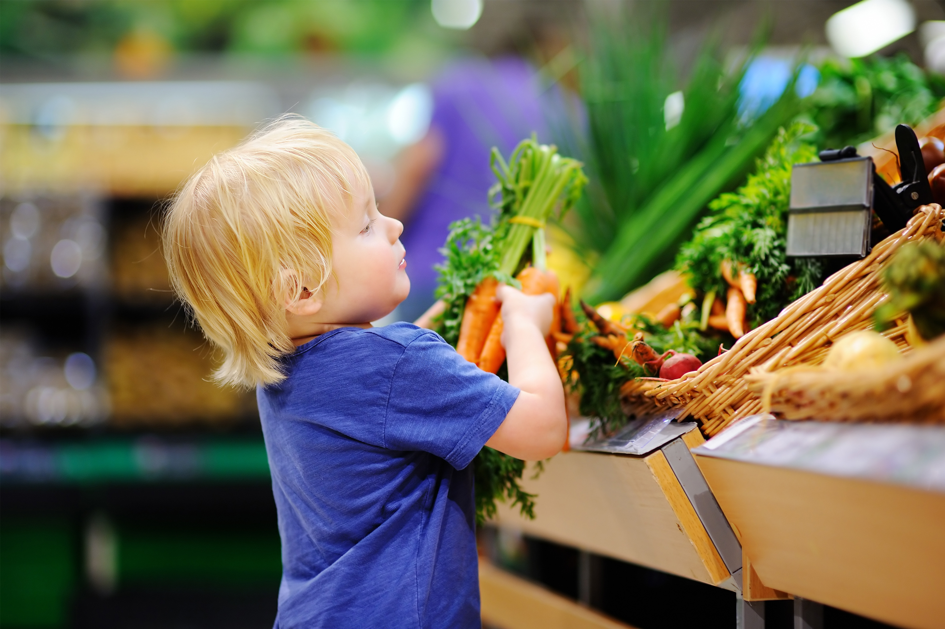 A small child reaches to take some carrots from a shop display