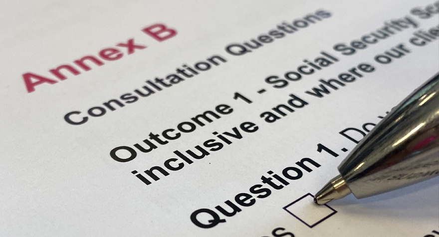Image shows a pen resting on a consultation paper